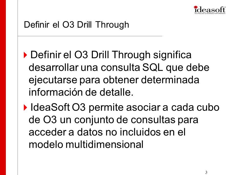 4 Definir el O3 Drill Through Relaciones entre las tablas Ventas y Clientes Modelo Multidimensional donde no está incluida el detalle de las Ventas (id_venta) select id_venta, fecha, id_cliente, importe_bruto, importe_neto from Ventas