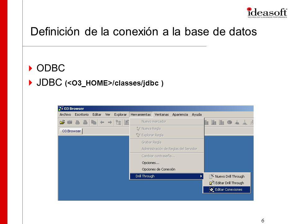 6 Definición de la conexión a la base de datos ODBC JDBC ( /classes/jdbc )