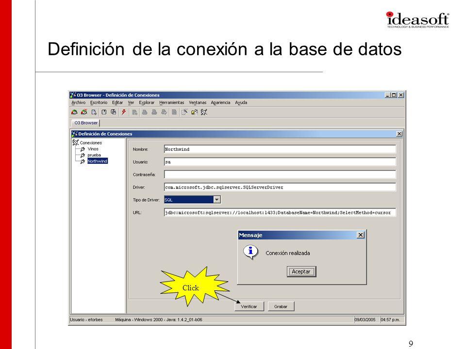 10 Especificando la consulta Las consultas realizadas a la base de datos, para obtener información más detallada que el contenido en el modelo multidimensional, se definen a partir de tablas o vistas existentes en el DBMS.