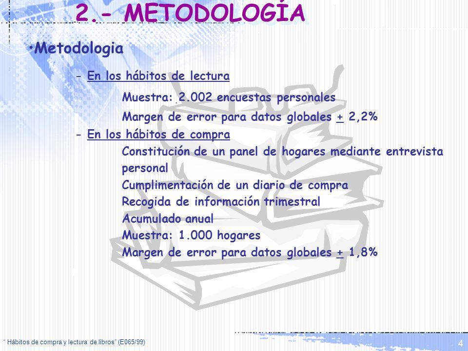 Hábitos de compra y lectura de libros (E065/99) 4 Metodologia - En los hábitos de lectura Muestra: 2.002 encuestas personales Margen de error para dat