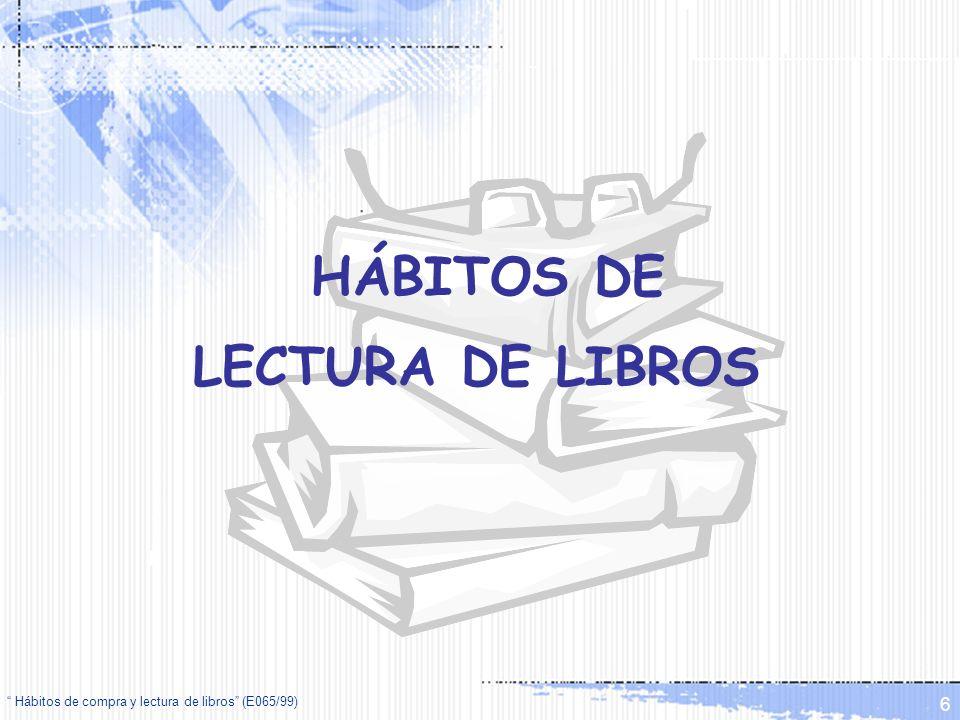 Hábitos de compra y lectura de libros (E065/99) 7 Lectura de libros en su tiempo libre ¿Suele leer libros en su tiempo libre.