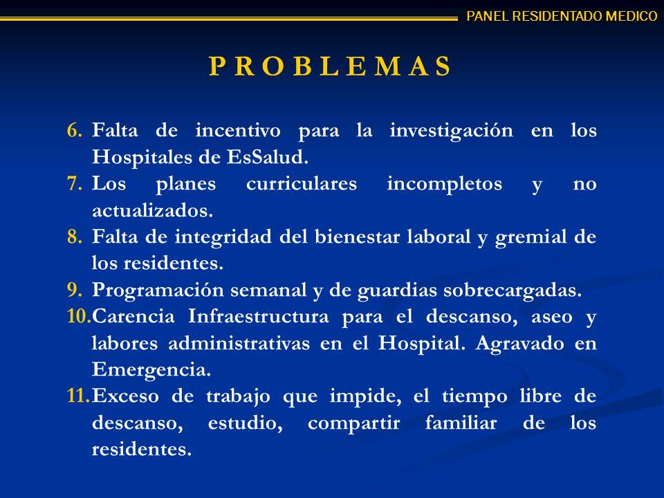 P R O B L E M A S 6.Falta de incentivo para la investigación en los Hospitales de EsSalud. 7.Los planes curriculares incompletos y no actualizados. 8.