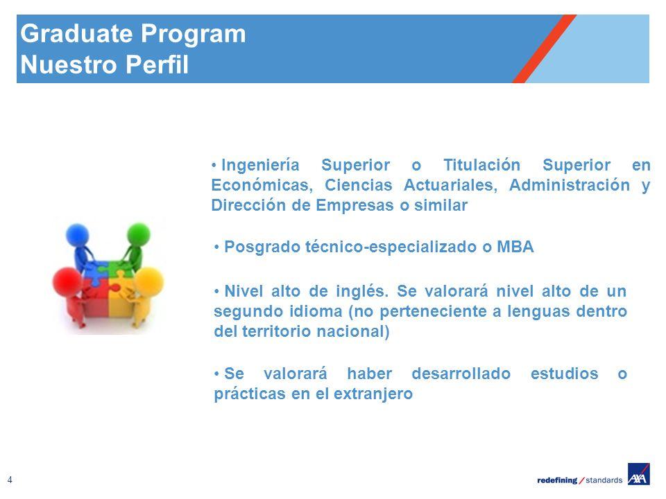4 Graduate Program Nuestro Perfil Ingeniería Superior o Titulación Superior en Económicas, Ciencias Actuariales, Administración y Dirección de Empresas o similar Posgrado técnico-especializado o MBA Nivel alto de inglés.