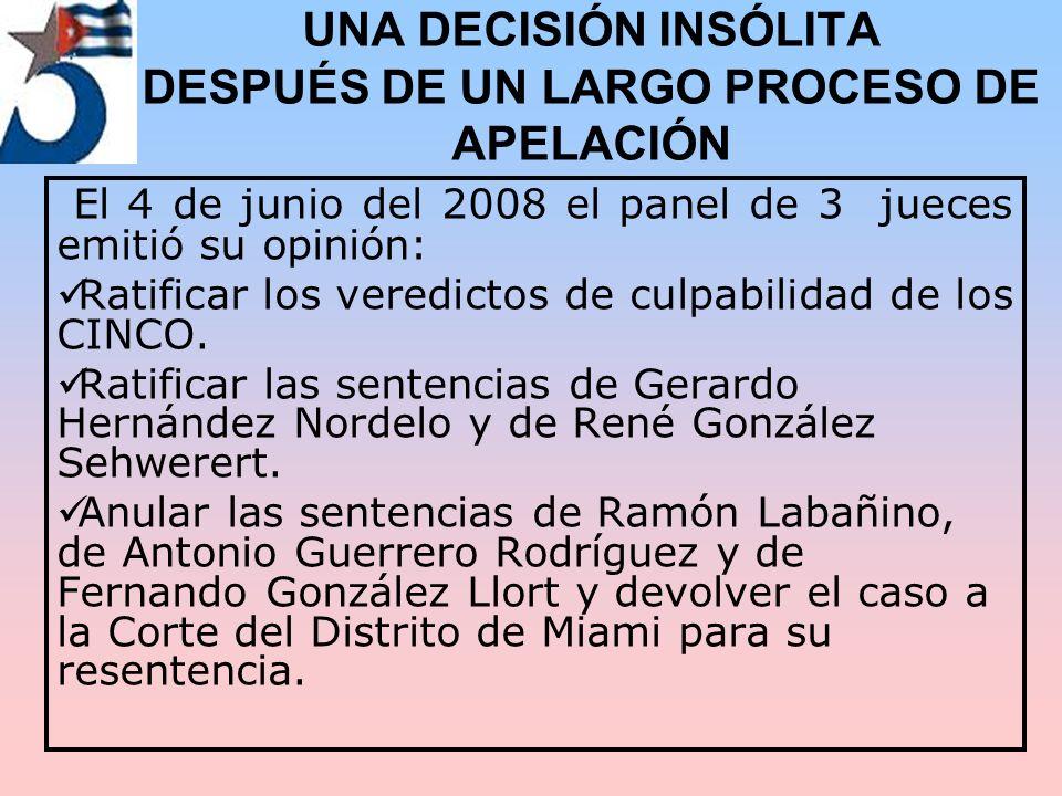 UNA DECISIÓN INSÓLITA DESPUÉS DE UN LARGO PROCESO DE APELACIÓN El 4 de junio del 2008 el panel de 3 jueces emitió su opinión: Ratificar los veredictos de culpabilidad de los CINCO.