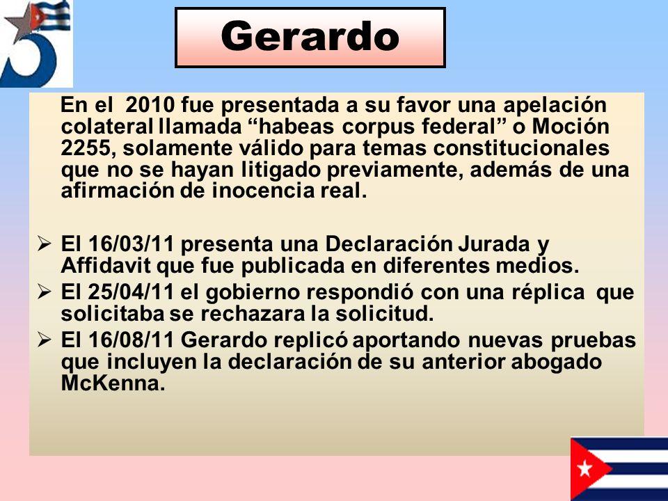 En el 2010 fue presentada a su favor una apelación colateral llamada habeas corpus federal o Moción 2255, solamente válido para temas constitucionales que no se hayan litigado previamente, además de una afirmación de inocencia real.