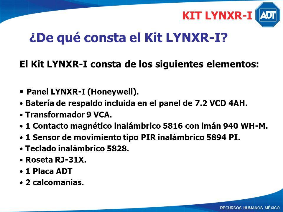 ¿De qué consta el Kit LYNXR-I? El Kit LYNXR-I consta de los siguientes elementos: Panel LYNXR-I (Honeywell). Batería de respaldo incluida en el panel