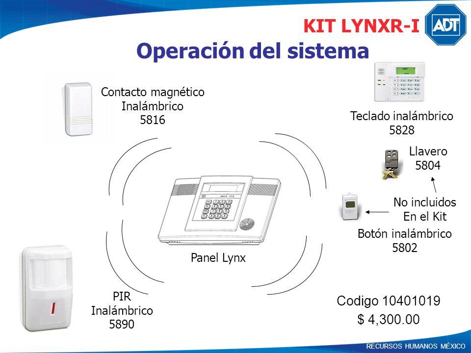 RECURSOS HUMANOS MÉXICO Operación del sistema Panel Lynx Teclado inalámbrico 5828 Contacto magnético Inalámbrico 5816 PIR Inalámbrico 5890 Botón inalá