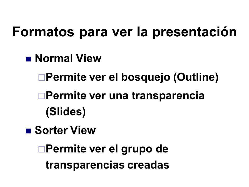 Formatos para ver la presentación Normal View Permite ver el bosquejo (Outline) Permite ver una transparencia (Slides) Sorter View Permite ver el grup