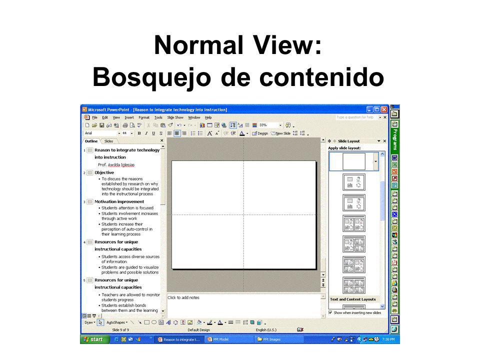 Normal View: Bosquejo de contenido