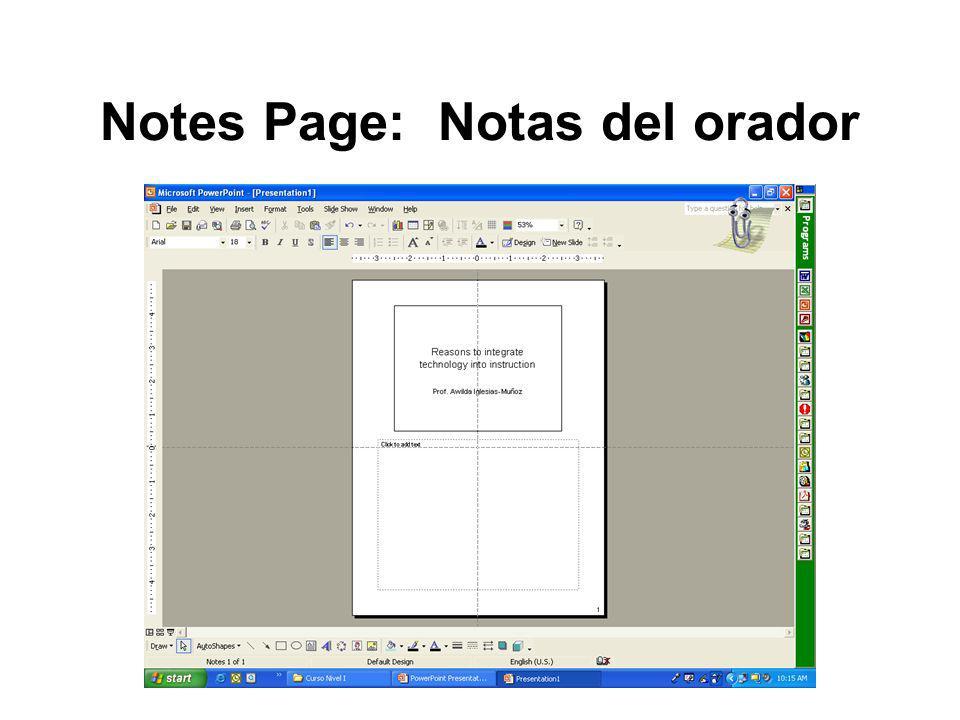 Notes Page: Notas del orador