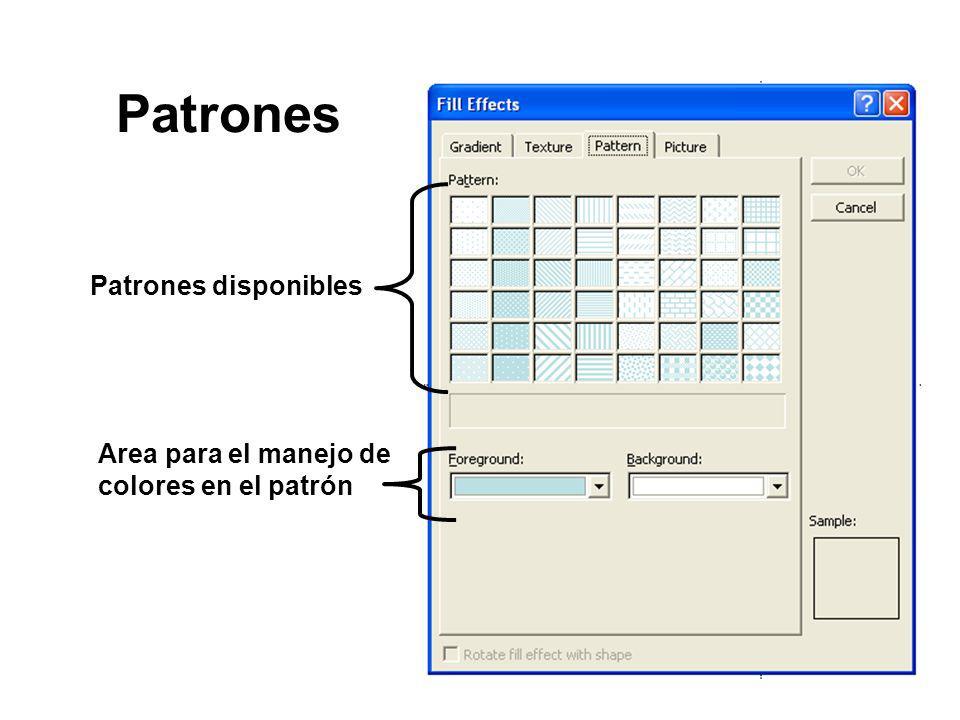 Patrones Patrones disponibles Area para el manejo de colores en el patrón