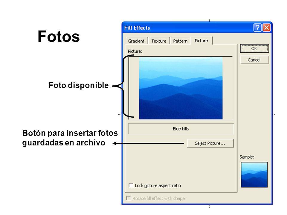 Fotos Foto disponible Botón para insertar fotos guardadas en archivo