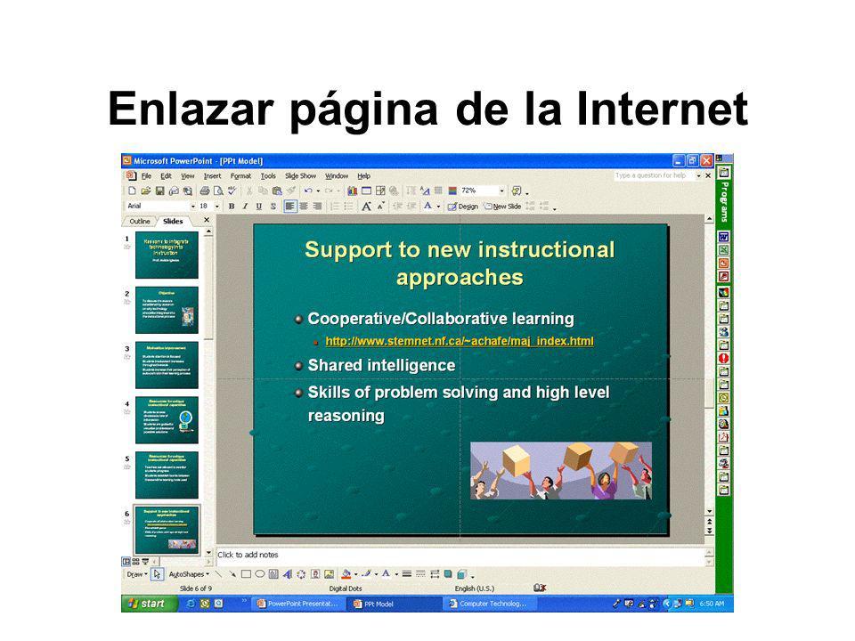 Enlazar página de la Internet
