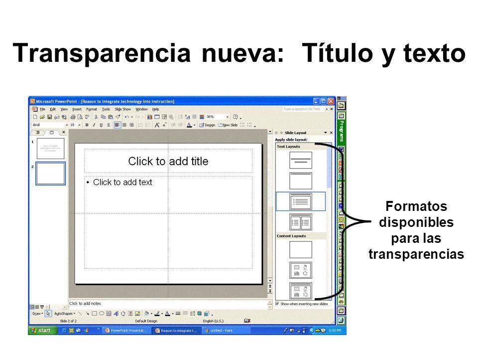 Utilizar una plantilla de diseño Menú: Format Opción: Slide Design Observa y selecciona uno de los esquemas de plantillas disponibles en el panel de tareas.