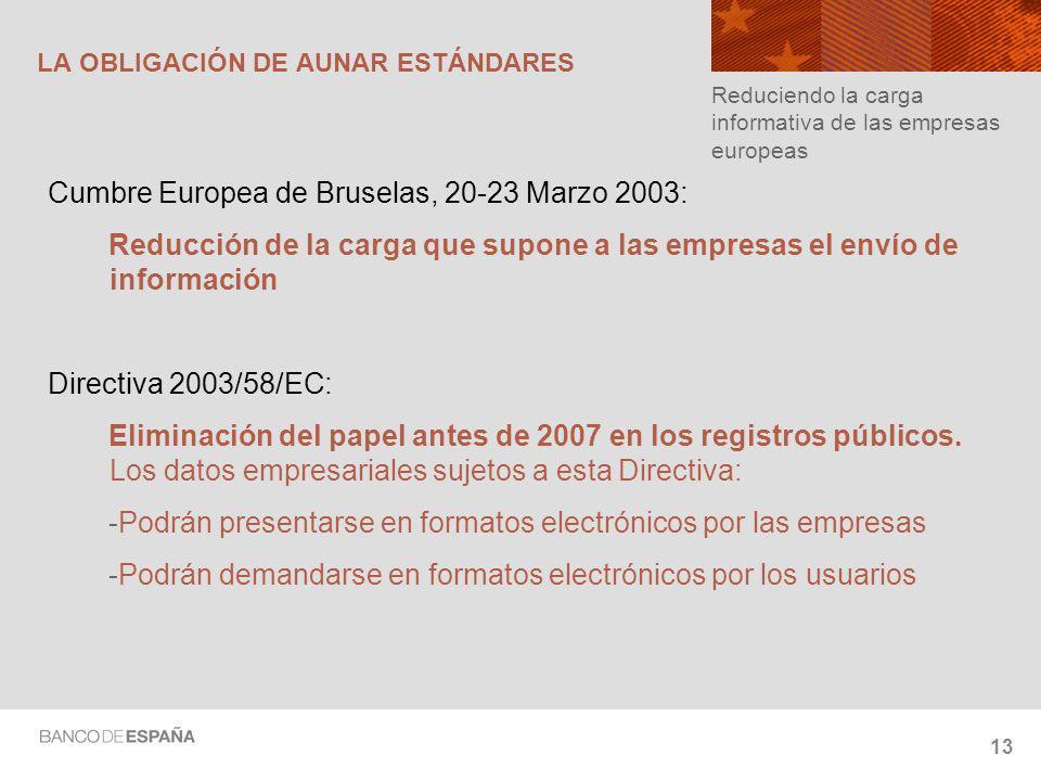 13 LA OBLIGACIÓN DE AUNAR ESTÁNDARES Cumbre Europea de Bruselas, 20-23 Marzo 2003: Reducción de la carga que supone a las empresas el envío de información Directiva 2003/58/EC: Eliminación del papel antes de 2007 en los registros públicos.