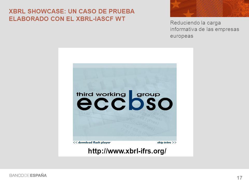 17 XBRL SHOWCASE: UN CASO DE PRUEBA ELABORADO CON EL XBRL-IASCF WT Reduciendo la carga informativa de las empresas europeas http://www.xbrl-ifrs.org/