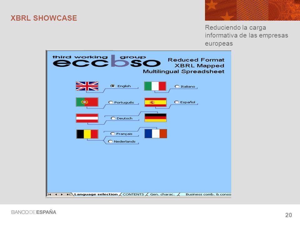 20 XBRL SHOWCASE Reduciendo la carga informativa de las empresas europeas