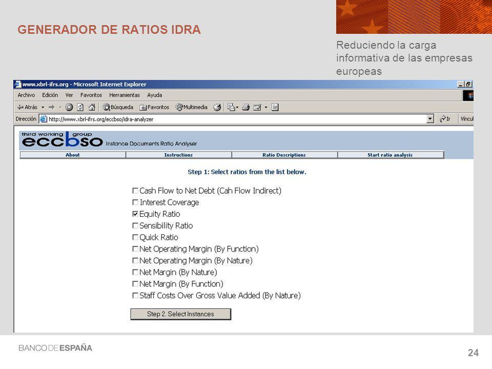 24 GENERADOR DE RATIOS IDRA Reduciendo la carga informativa de las empresas europeas