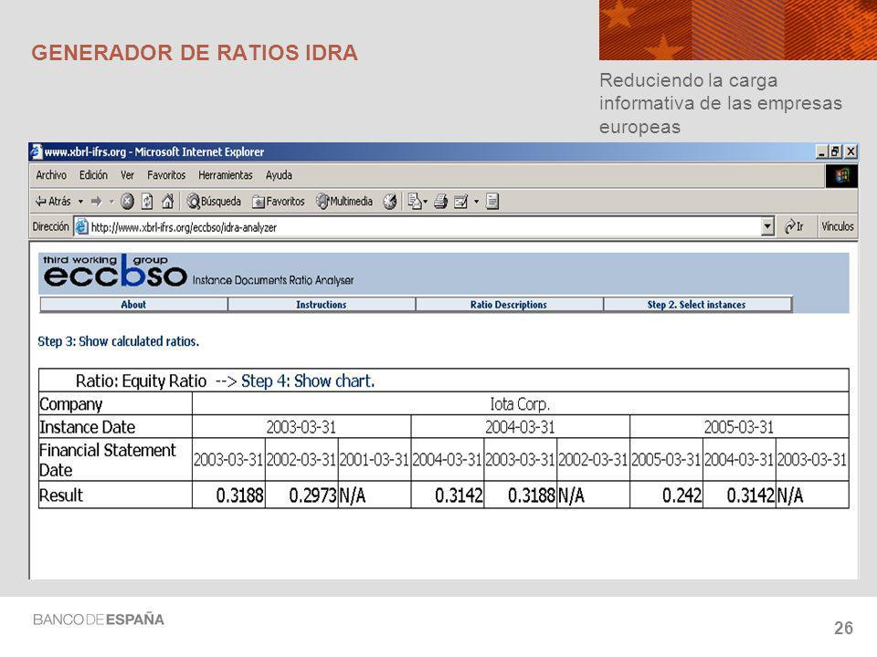 26 GENERADOR DE RATIOS IDRA Reduciendo la carga informativa de las empresas europeas
