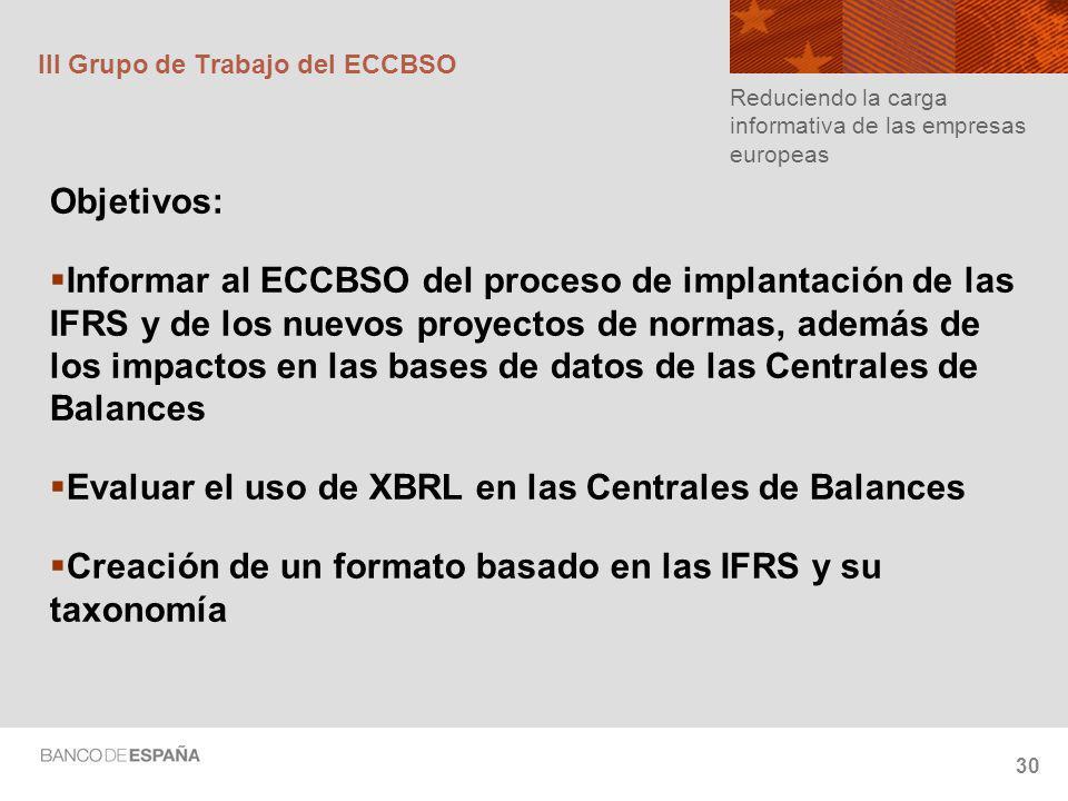 30 III Grupo de Trabajo del ECCBSO Objetivos: Informar al ECCBSO del proceso de implantación de las IFRS y de los nuevos proyectos de normas, además de los impactos en las bases de datos de las Centrales de Balances Evaluar el uso de XBRL en las Centrales de Balances Creación de un formato basado en las IFRS y su taxonomía Reduciendo la carga informativa de las empresas europeas