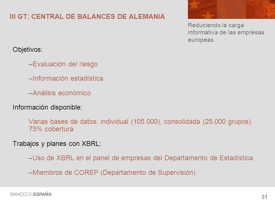 31 III GT: CENTRAL DE BALANCES DE ALEMANIA Objetivos: –Evaluación del riesgo –Información estadística –Análisis económico Información disponible: Varias bases de datos: individual (105.000), consolidada (25.000 grupos).