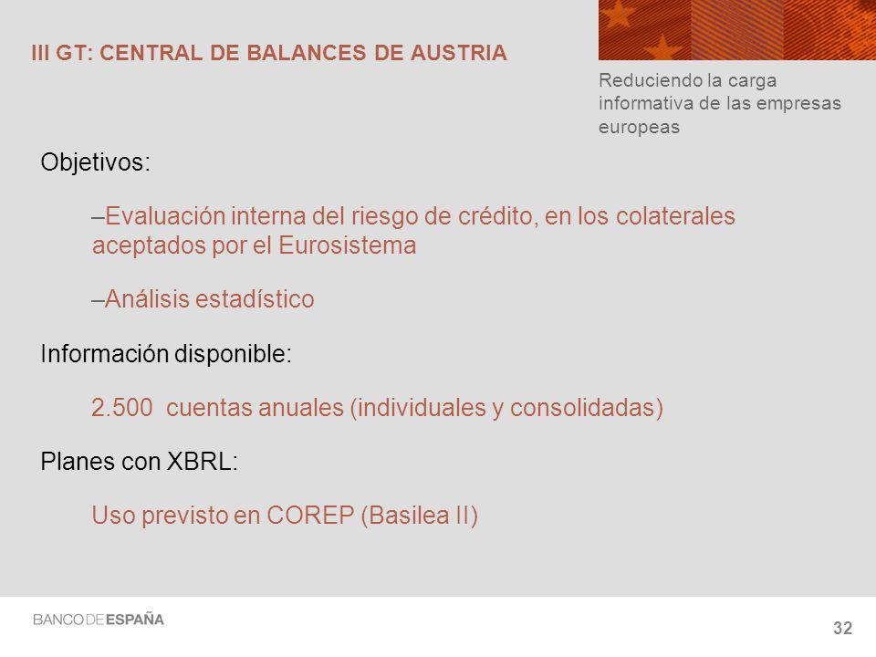 32 III GT: CENTRAL DE BALANCES DE AUSTRIA Objetivos: –Evaluación interna del riesgo de crédito, en los colaterales aceptados por el Eurosistema –Análisis estadístico Información disponible: 2.500 cuentas anuales (individuales y consolidadas) Planes con XBRL: Uso previsto en COREP (Basilea II) Reduciendo la carga informativa de las empresas europeas