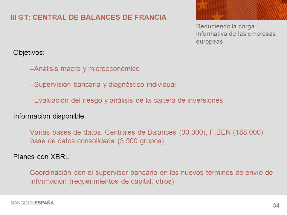 34 III GT: CENTRAL DE BALANCES DE FRANCIA Objetivos: –Análisis macro y microeconómico –Supervisión bancaria y diagnóstico individual –Evaluación del riesgo y análisis de la cartera de inversiones Informacion disponible: Varias bases de datos: Centrales de Balances (30.000), FIBEN (188.000), base de datos consolidada (3.500 grupos) Planes con XBRL: Coordinación con el supervisor bancario en los nuevos términos de envío de información (requerimientos de capital, otros) Reduciendo la carga informativa de las empresas europeas