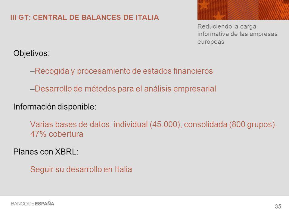 35 III GT: CENTRAL DE BALANCES DE ITALIA Objetivos: –Recogida y procesamiento de estados financieros –Desarrollo de métodos para el análisis empresarial Información disponible: Varias bases de datos: individual (45.000), consolidada (800 grupos).