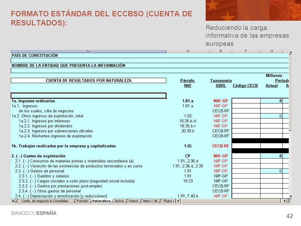 42 FORMATO ESTÁNDAR DEL ECCBSO (CUENTA DE RESULTADOS): Reduciendo la carga informativa de las empresas europeas