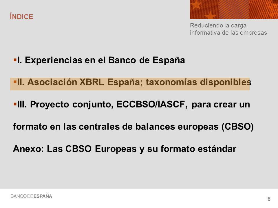 8 ÍNDICE I.Experiencias en el Banco de España II.