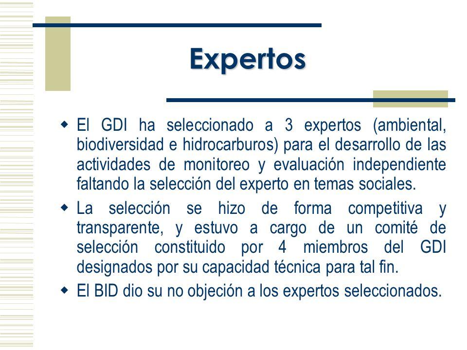Expertos El GDI ha seleccionado a 3 expertos (ambiental, biodiversidad e hidrocarburos) para el desarrollo de las actividades de monitoreo y evaluación independiente faltando la selección del experto en temas sociales.
