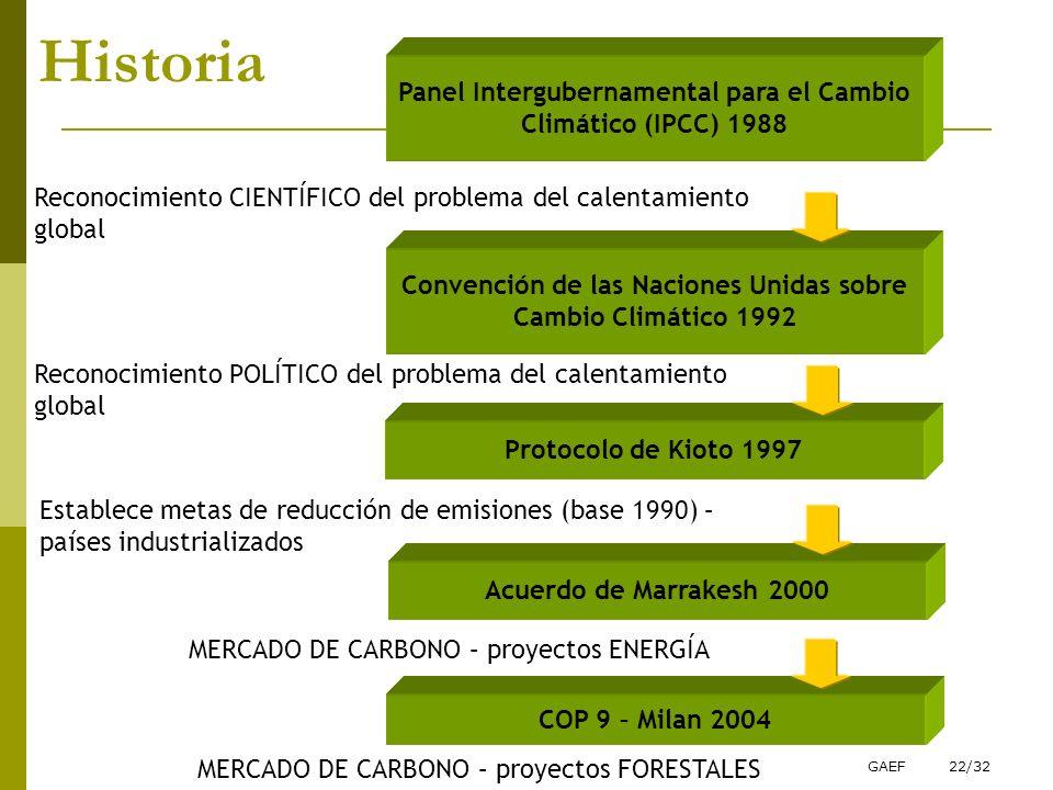 GAEF22/32 Historia Panel Intergubernamental para el Cambio Climático (IPCC) 1988 Convención de las Naciones Unidas sobre Cambio Climático 1992 Protoco
