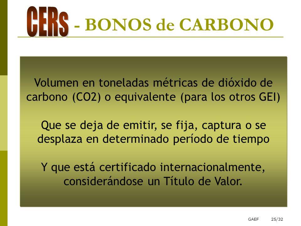 GAEF25/32 - BONOS de CARBONO Volumen en toneladas métricas de dióxido de carbono (CO2) o equivalente (para los otros GEI) Que se deja de emitir, se fi