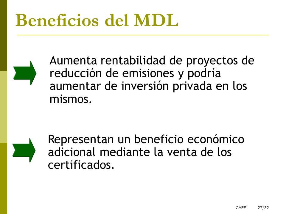 GAEF27/32 Aumenta rentabilidad de proyectos de reducción de emisiones y podría aumentar de inversión privada en los mismos. Beneficios del MDL Represe