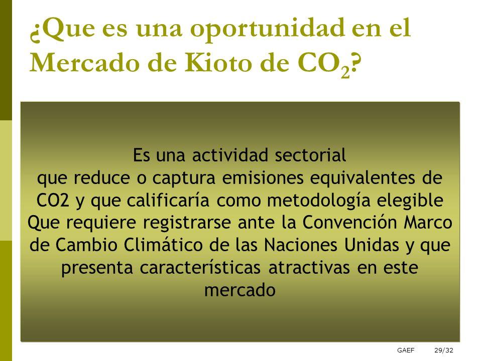 GAEF29/32 ¿Que es una oportunidad en el Mercado de Kioto de CO 2 ? Es una actividad sectorial que reduce o captura emisiones equivalentes de CO2 y que
