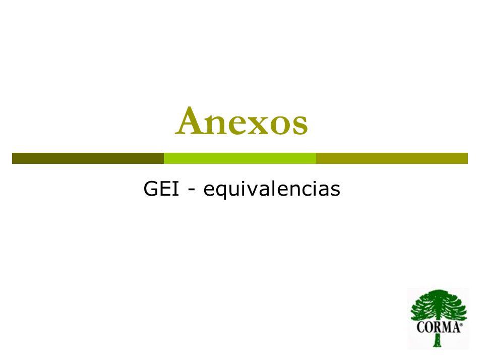 Anexos GEI - equivalencias