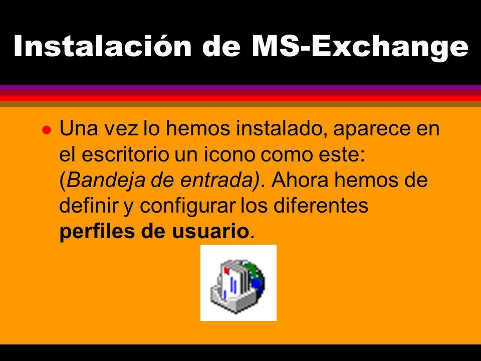 Instalación de MS-Exchange l Una vez lo hemos instalado, aparece en el escritorio un icono como este: (Bandeja de entrada).