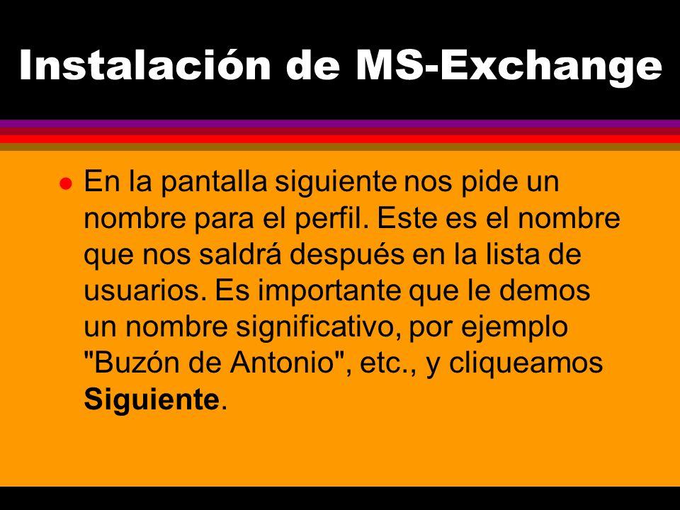 Instalación de MS-Exchange l En la pantalla siguiente nos pide un nombre para el perfil.