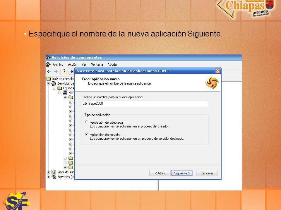 Especifique el nombre de la nueva aplicación Siguiente.