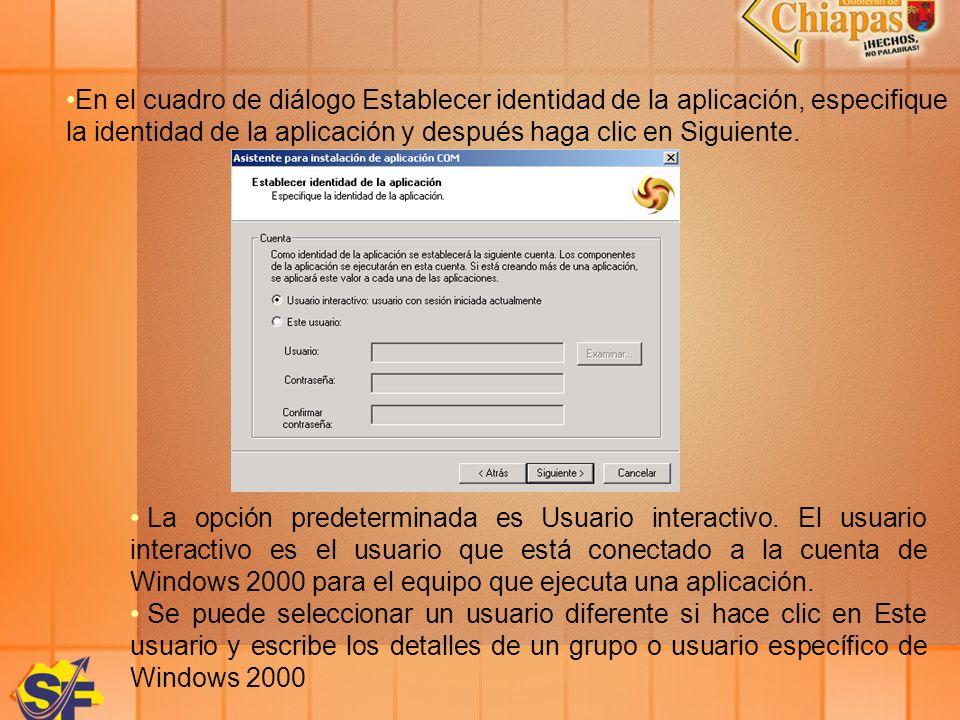 En el cuadro de diálogo Establecer identidad de la aplicación, especifique la identidad de la aplicación y después haga clic en Siguiente. La opción p