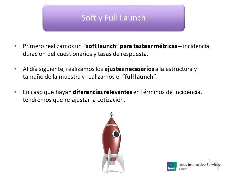 Soft y Full Launch Primero realizamos un soft launch para testear métricas – incidencia, duración del cuestionarios y tasas de respuesta. Al día sigui