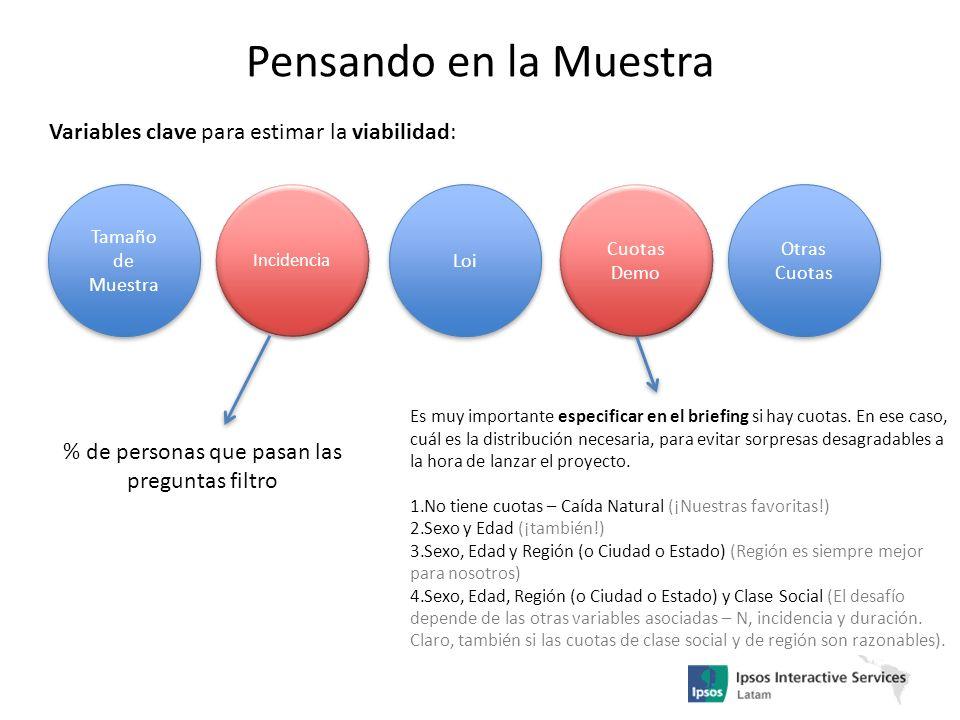 Pensando en la Muestra Variables clave para estimar la viabilidad: Tamaño de Muestra Loi Cuotas Demo Otras Cuotas Incidencia % de personas que pasan l