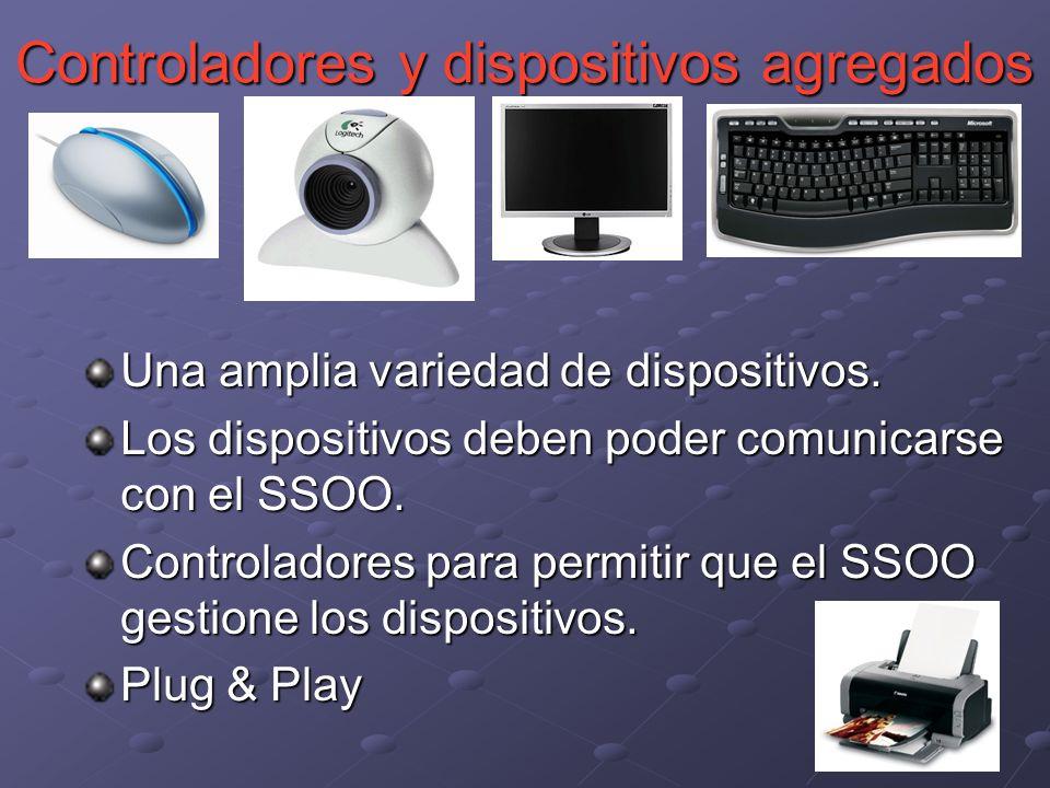 Una amplia variedad de dispositivos. Los dispositivos deben poder comunicarse con el SSOO. Controladores para permitir que el SSOO gestione los dispos