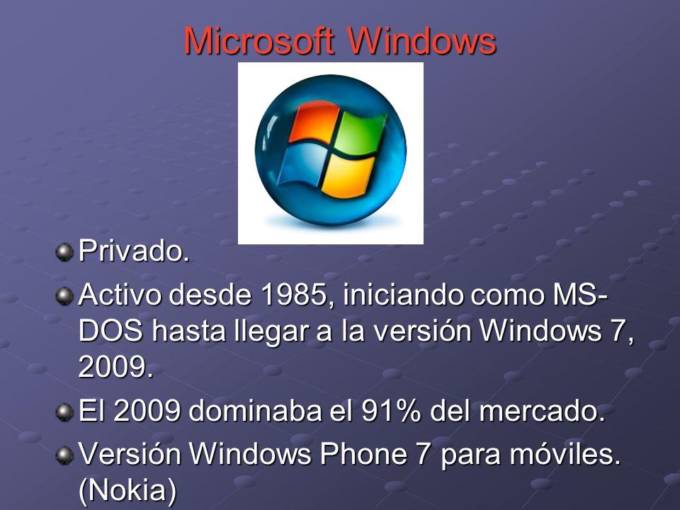 Privado. Activo desde 1985, iniciando como MS- DOS hasta llegar a la versión Windows 7, 2009. El 2009 dominaba el 91% del mercado. Versión Windows Pho