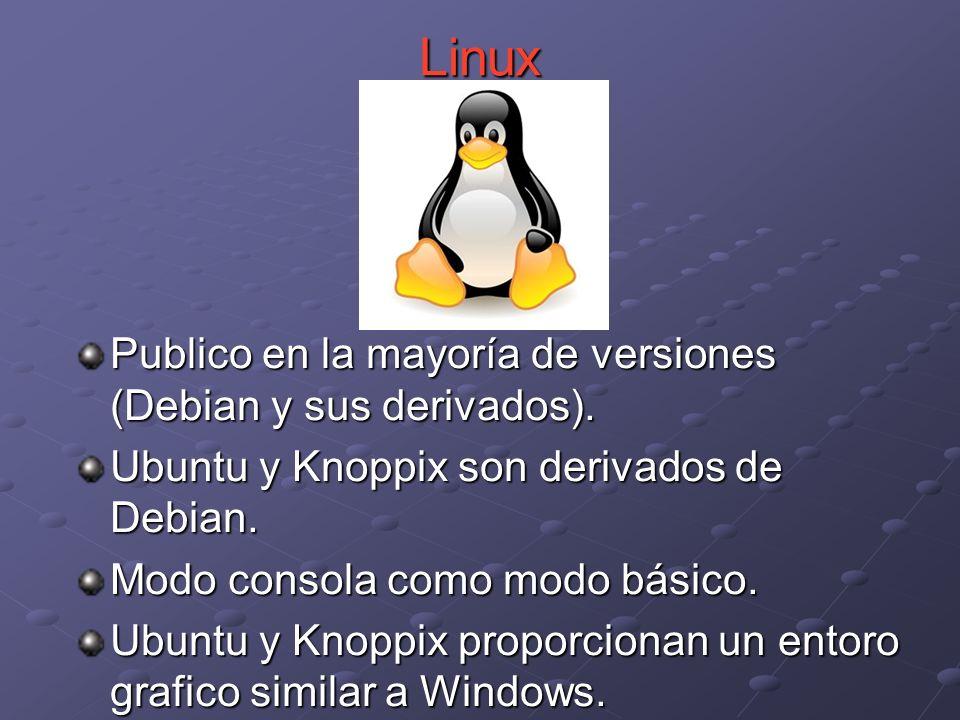 Publico en la mayoría de versiones (Debian y sus derivados). Ubuntu y Knoppix son derivados de Debian. Modo consola como modo básico. Ubuntu y Knoppix