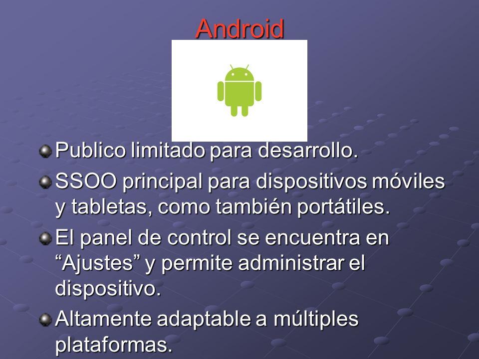 Publico limitado para desarrollo. SSOO principal para dispositivos móviles y tabletas, como también portátiles. El panel de control se encuentra en Aj