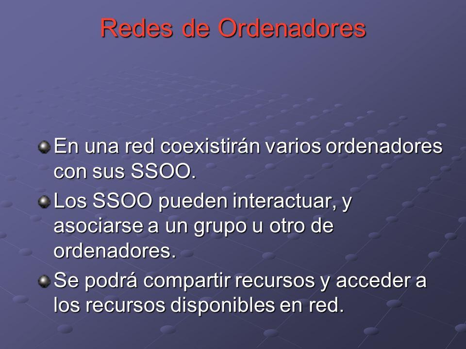En una red coexistirán varios ordenadores con sus SSOO. Los SSOO pueden interactuar, y asociarse a un grupo u otro de ordenadores. Se podrá compartir