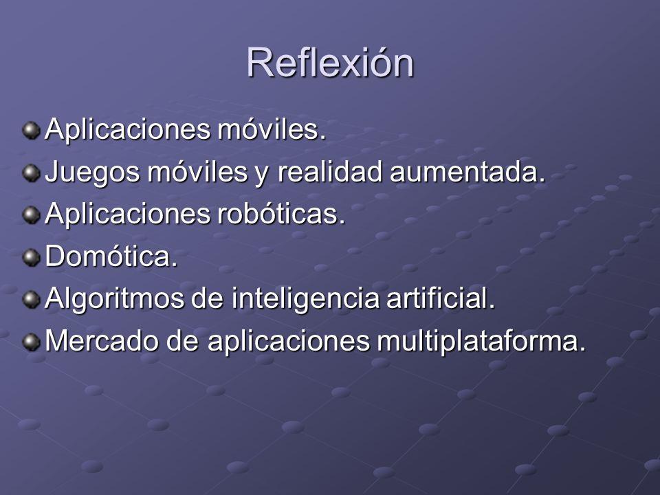 Reflexión Aplicaciones móviles. Juegos móviles y realidad aumentada. Aplicaciones robóticas. Domótica. Algoritmos de inteligencia artificial. Mercado