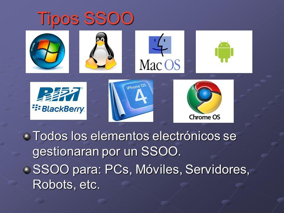 Todos los elementos electrónicos se gestionaran por un SSOO. SSOO para: PCs, Móviles, Servidores, Robots, etc. Tipos SSOO