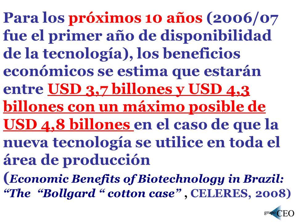 Para los próximos 10 años (2006/07 fue el primer año de disponibilidad de la tecnología), los beneficios económicos se estima que estarán entre USD 3,7 billones y USD 4,3 billones con un máximo posible de USD 4,8 billones en el caso de que la nueva tecnología se utilice en toda el área de producción ( Economic Benefits of Biotechnology in Brazil: The Bollgard cotton case, CELERES, 2008)